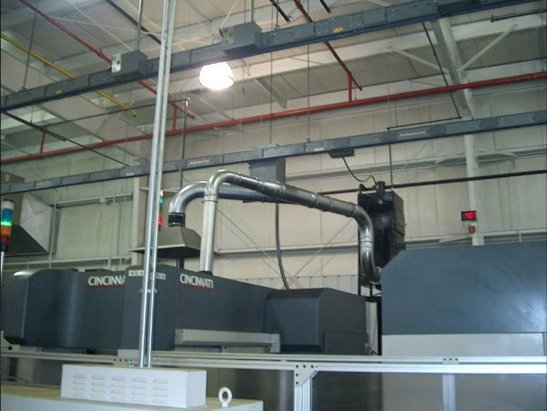 ST-1600HP ducted to machine cavity and too change pick up hood on Cincinnati CNC